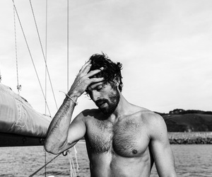 black and white, male model, and boat trip image