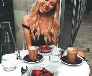 breakfast, coffee, and fruit image