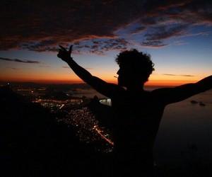 boy, sunset, and sky image