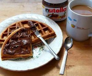 breakfast, coffe, and nutella image