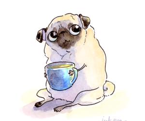 art, pug, and tea image