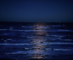 sea, night, and blue image