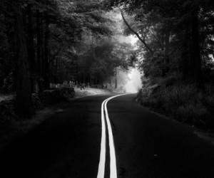 road, black and white, and black image