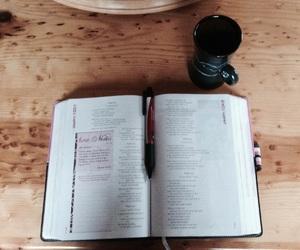 bible, coffee, and wood image