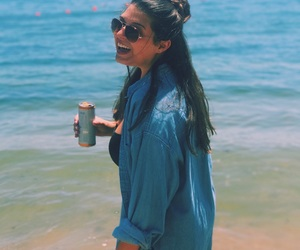 beach, summer, and brunette image