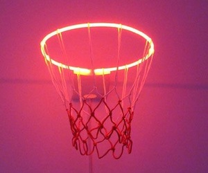 Basketball, red, and neon image