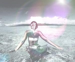 beach babe, girl, and lense flare image