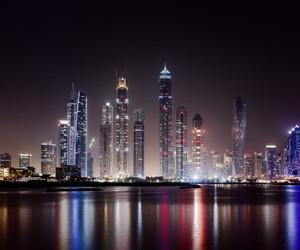 city, night, and Dubai image