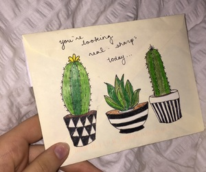 art, cactus, and card image