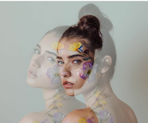 flowers, girl, and think image