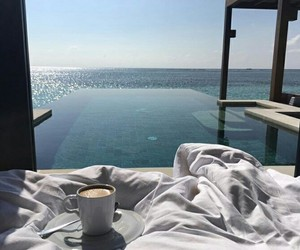 bed, ocean, and relax time image