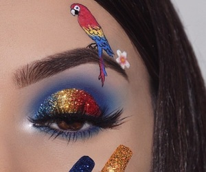 makeup, beauty, and parrot image