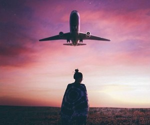 airplane, girl, and photography image