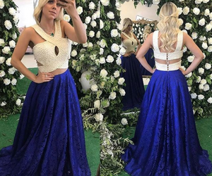 sexy prom dress, lace prom dress, and halter prom dress image