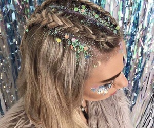 hair, glitter, and festival image