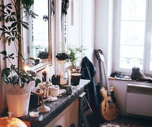 guitar, home, and mirror image