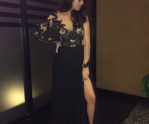 beautiful, black dress, and curls image
