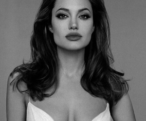 Angelina Jolie, actress, and black and white image