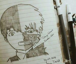black white, animeart, and kaneki ken image