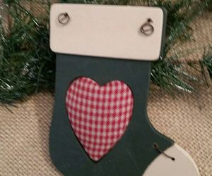 Rustic Country Wood & Wire Christmas Stocking Ornament With Gingham Heart Accent | eBay