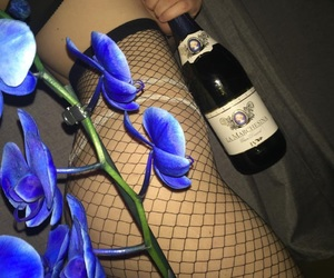 blue flowers, fishnet stockings, and floral image