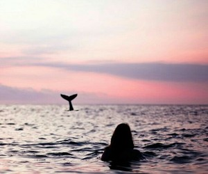 girls, pink, and ocean image