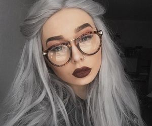 girl, beautiful, and glasses image