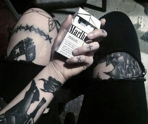 tattoo, black, and cigarette image