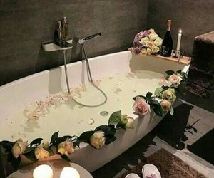 flowers, relax, and bathroom image