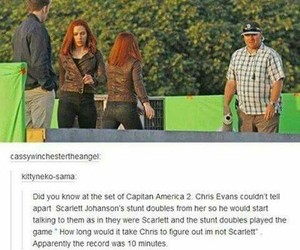 chris evans, funny, and Scarlett Johansson image