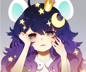 anime girl, stars, and tears image