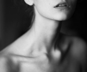 girl, black and white, and collarbones image