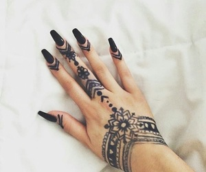nails, black, and henna image