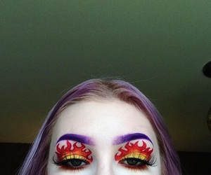 fire, eyes, and girl image