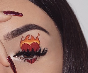 fire, heart, and makeup image