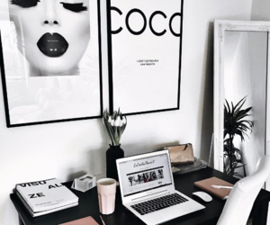 black and white, mirror, and workspace image