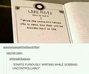 death note, life note, and attack on titan image