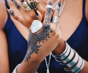 tattoo, nails, and rings image