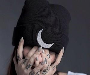 moon, tattoo, and black image