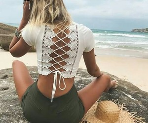 beach, summer, and outfit image