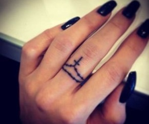 tattoo, cross, and fingers image