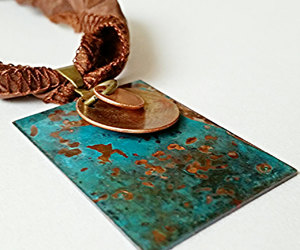 etsy, copper pendant, and mixed metal necklace image