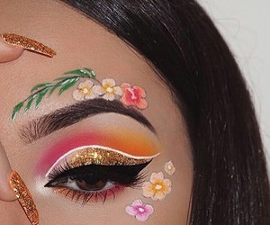 makeup, flowers, and art image
