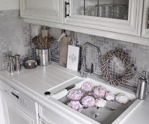 interior design, rustic, and pink peonies image