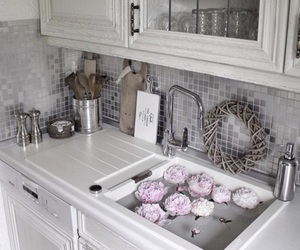 interior design, rustic, and pink peonies image