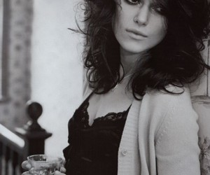 black and white, keira knightley, and makeup image