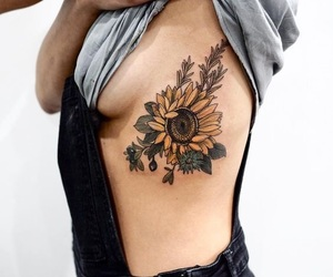 tattoo, flowers, and sunflower image