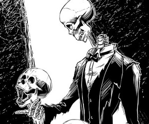 art, skull, and black and white image