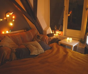 bed, cozy, and fall image