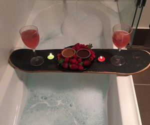 bath, romantic, and skateboard image